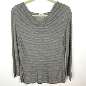 Armani Collezioni Mohair Blend Cowl Neck Top Grey